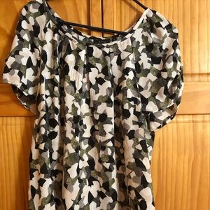 Black and green,white multi color blouse